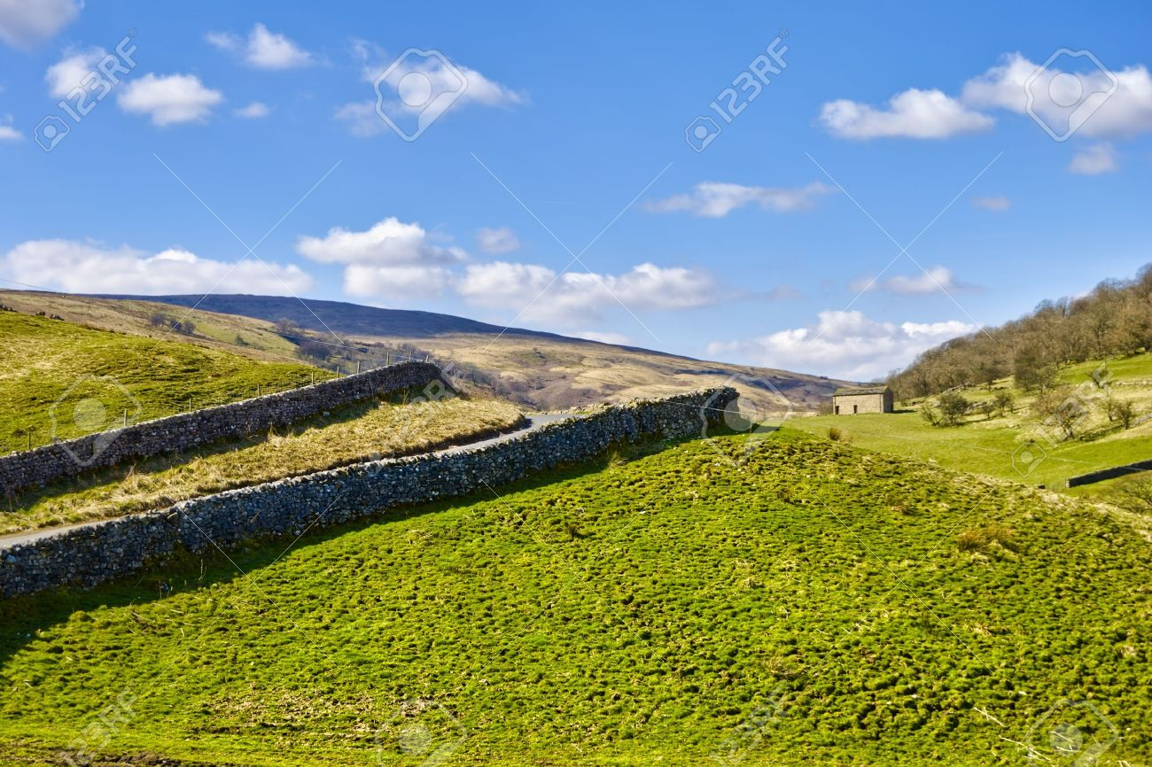 Scenic view of dry stone walls in countryside, Wharfedale, Yorkshire Dales National Park England. Stock Photo - 4888527
