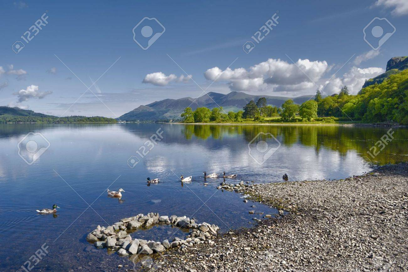Scenic view of Derwent Water lake with Skiddaw mountain in background, Lake District National Park, Cumbria, England. Stock Photo - 5151360