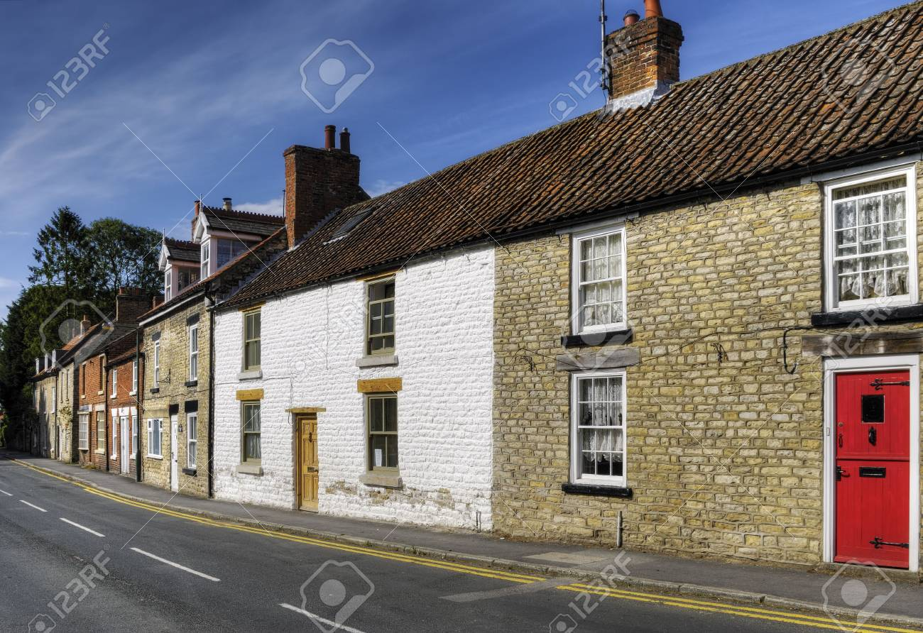 Row of terraced housed in Thornton-le-Dale village, Ryedale, North Yorkshire, England. Stock Photo - 5546723