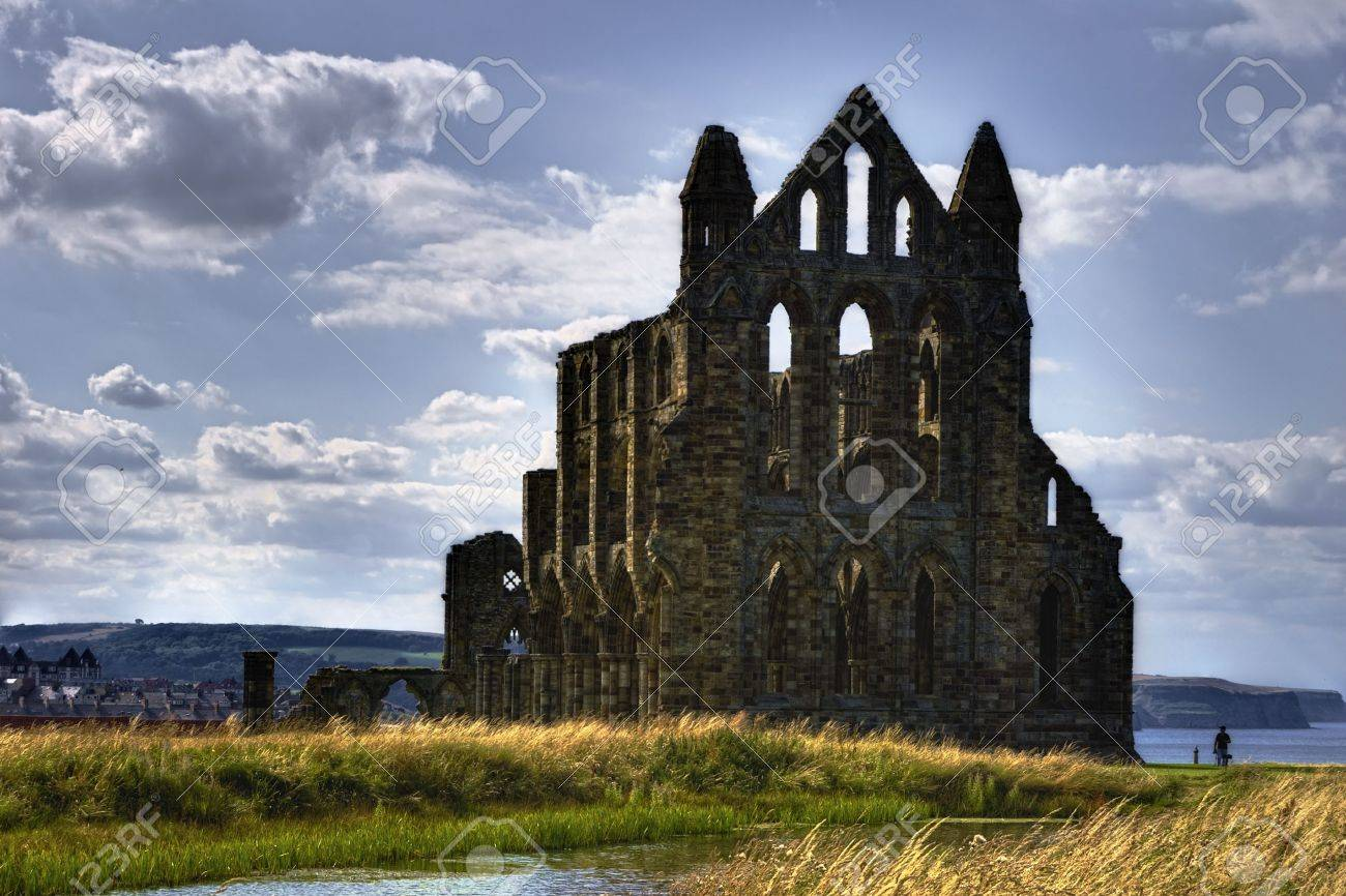 Exterior of Whitby Abbey ruins with cloudscape in background, Whitby Town, North Yorkshire, England. Stock Photo - 5700270