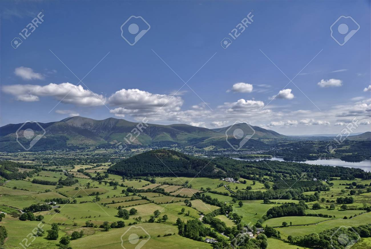 A distant view of Skiddaw & Blencathra from the slopes of Causey Pike Stock Photo - 7626303