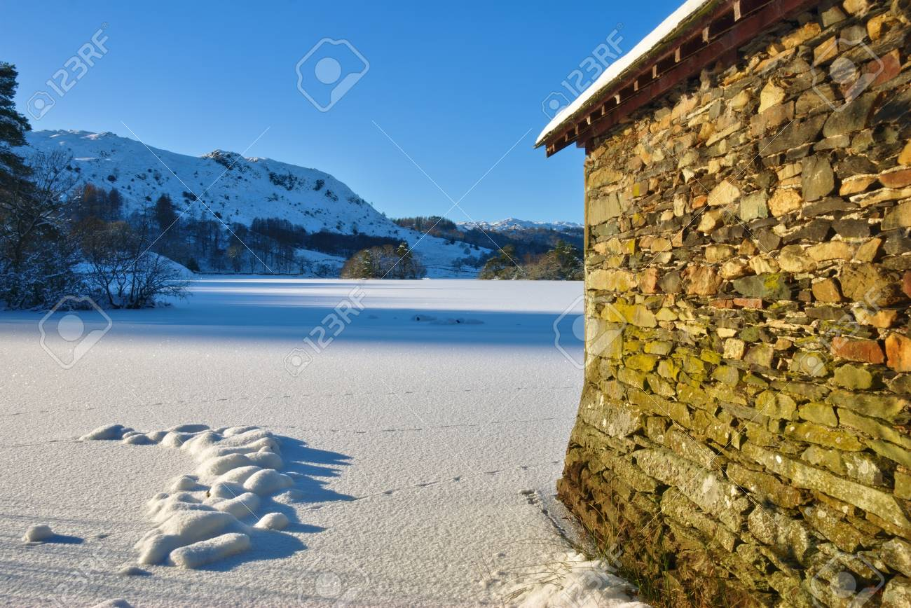 A Boathouse on frozen Rydal Water Stock Photo - 8781006