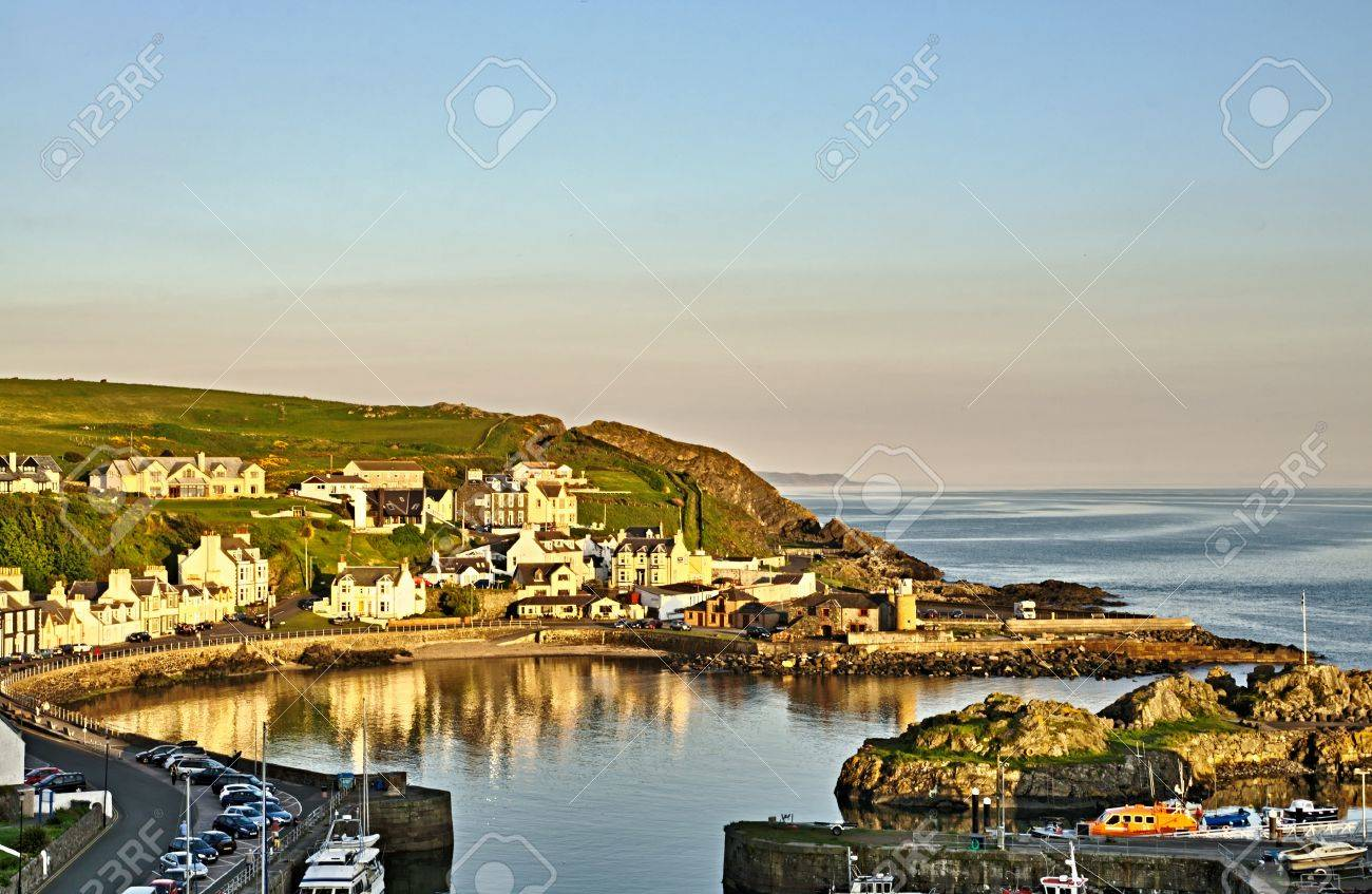 Sweeping view of Partpatrick Harbour in Dumfries and Galloway, Scotland as dusk falls on a summers day Stock Photo - 21933959