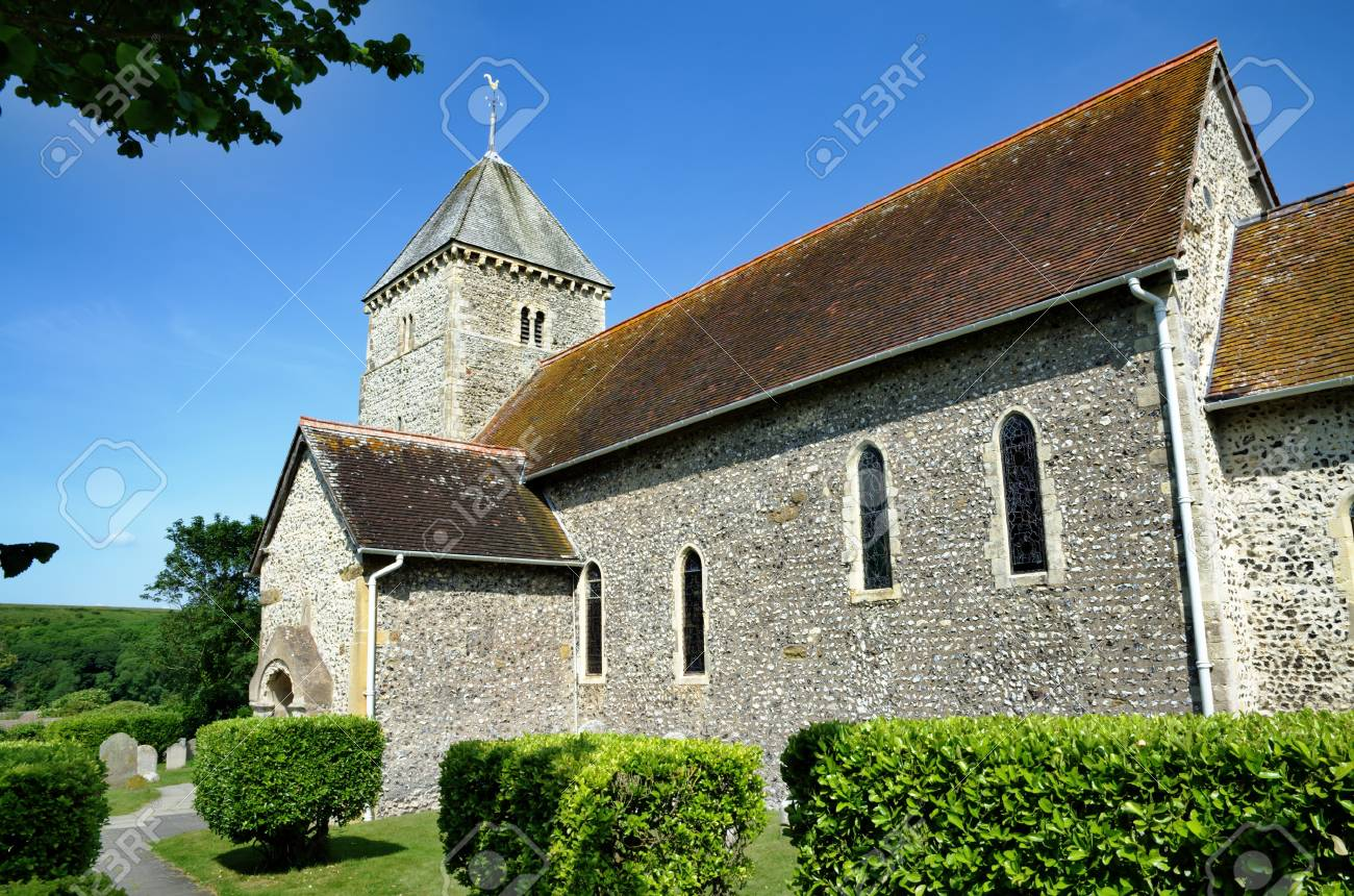 View of St Andrews Church Bishopstone, a place of worship dating from Saxon times in the county of East Sussex Stock Photo - 22125387