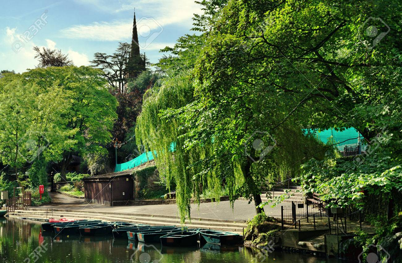 River Derwent at Matlock Bath in Derbyshire, with overhanging trees Stock Photo - 23859664