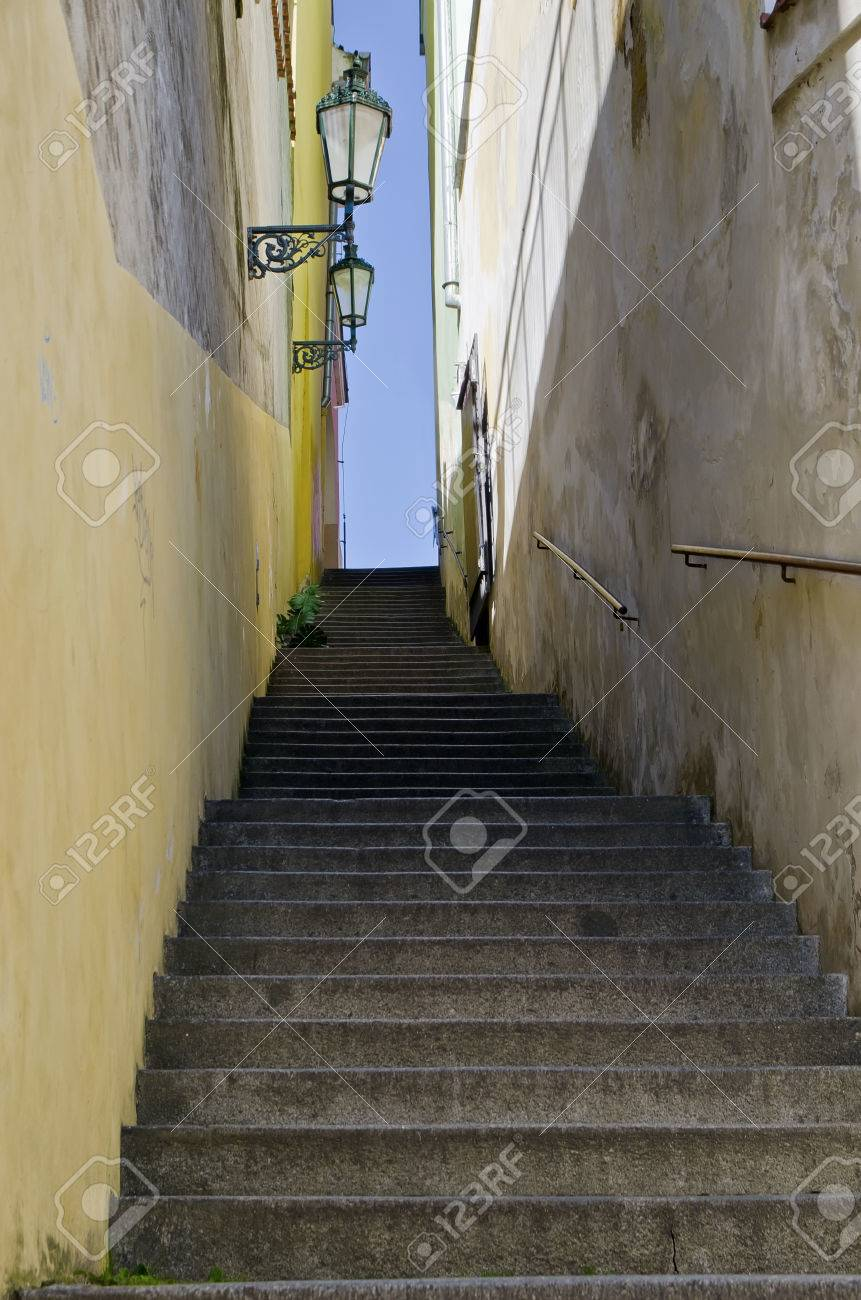 Narrow Stairs Between The Houses At Prague Castle Stock Photo
