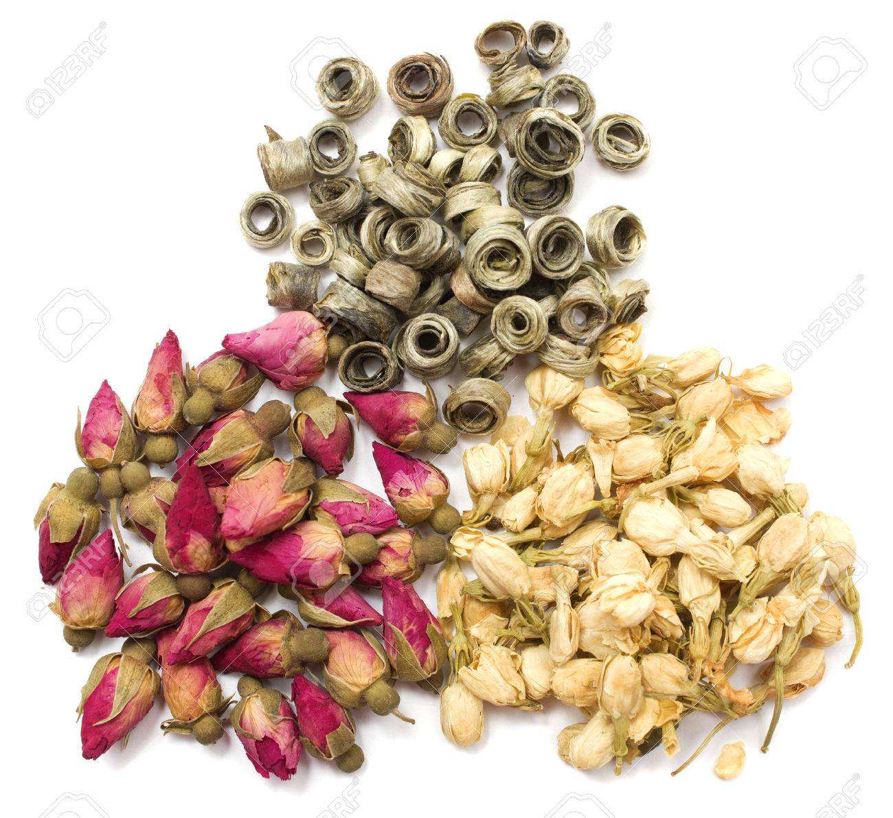 Dried flowers of jasmine and rose white tea on a white background dried flowers of jasmine and rose white tea on a white background stock photo dhlflorist Gallery