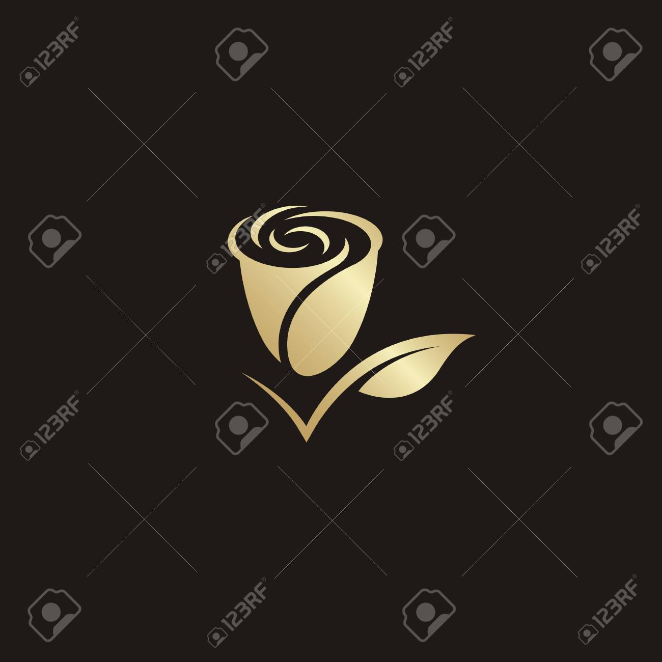 Rose Flower Logo Vector Gold Color