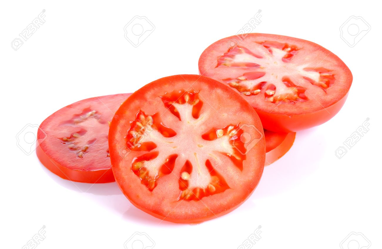 slice tomato isolated on the white background stock photo picture
