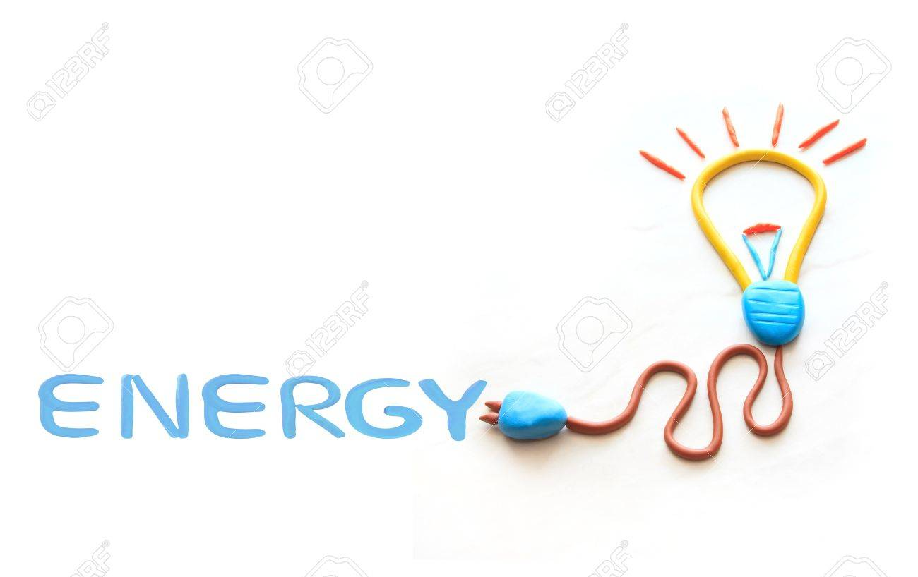 bulb lamp plug wire and energy wording  on white background Stock Photo - 14083649