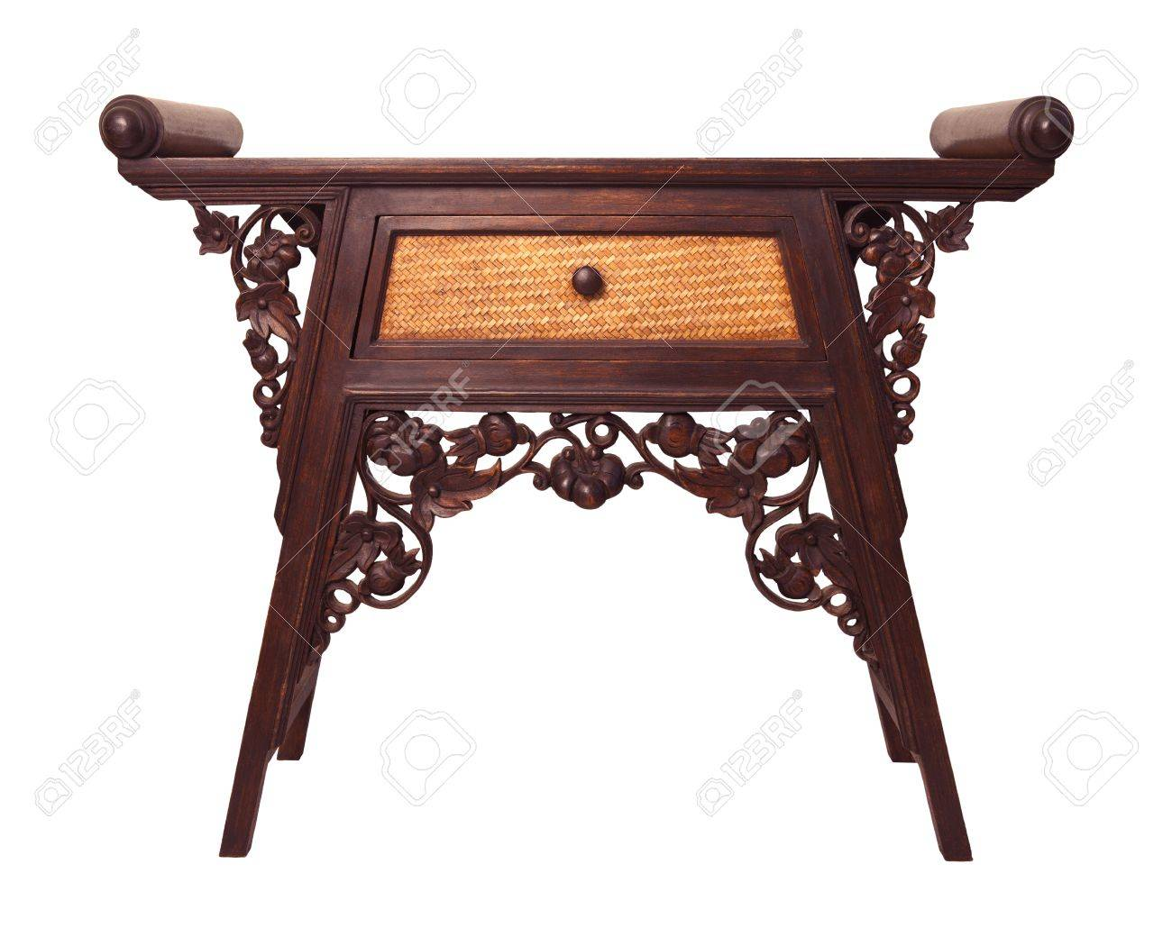 Old Thai Wood Furniture Desk Isolated White Stock Photo   15119693