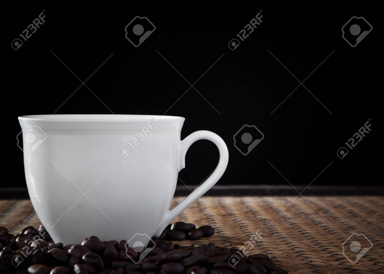 white cup of coffee in studio light Stock Photo - 15119745