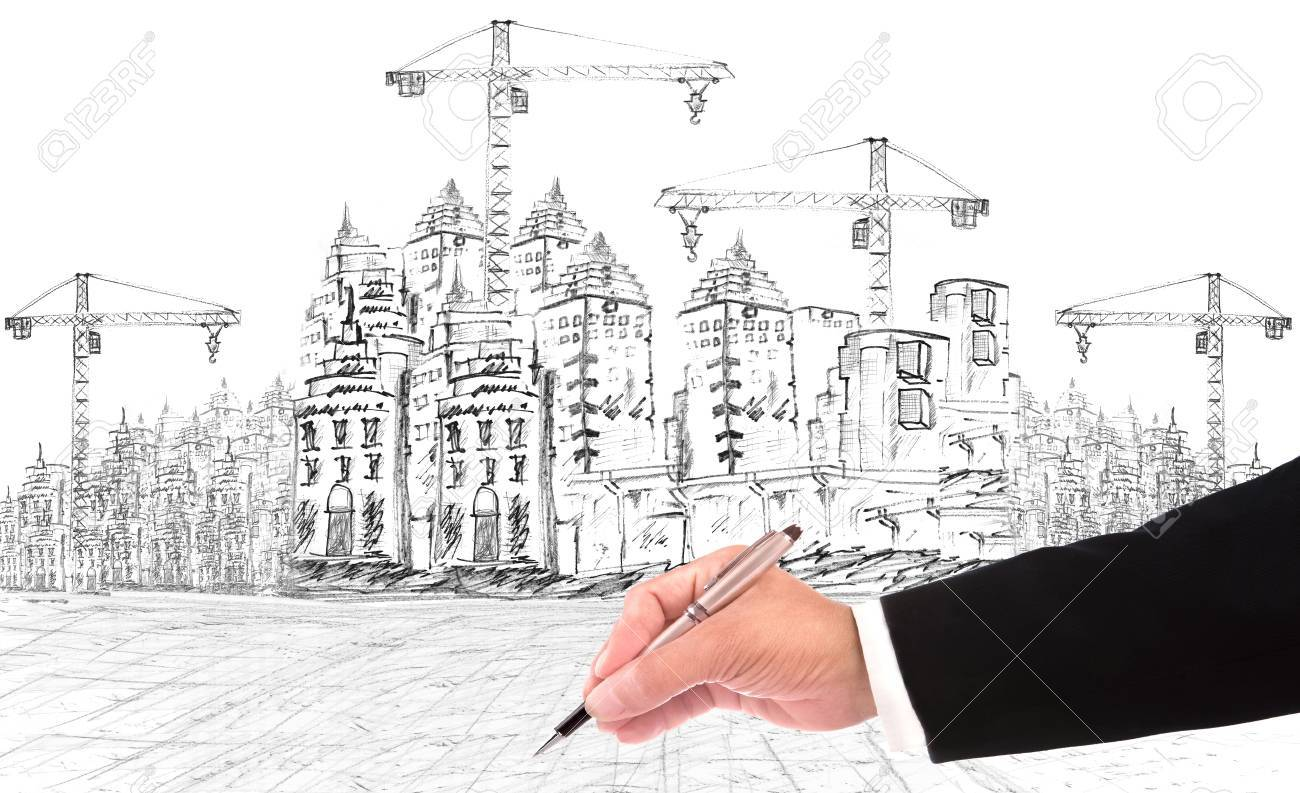 hand writing and buiding construction construction business theme Stock Photo - 18845580