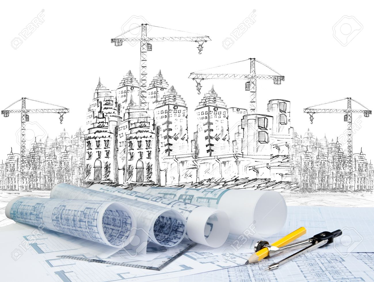 Sketching Of Modern Building Construction And Plan Document - Modern building sketches