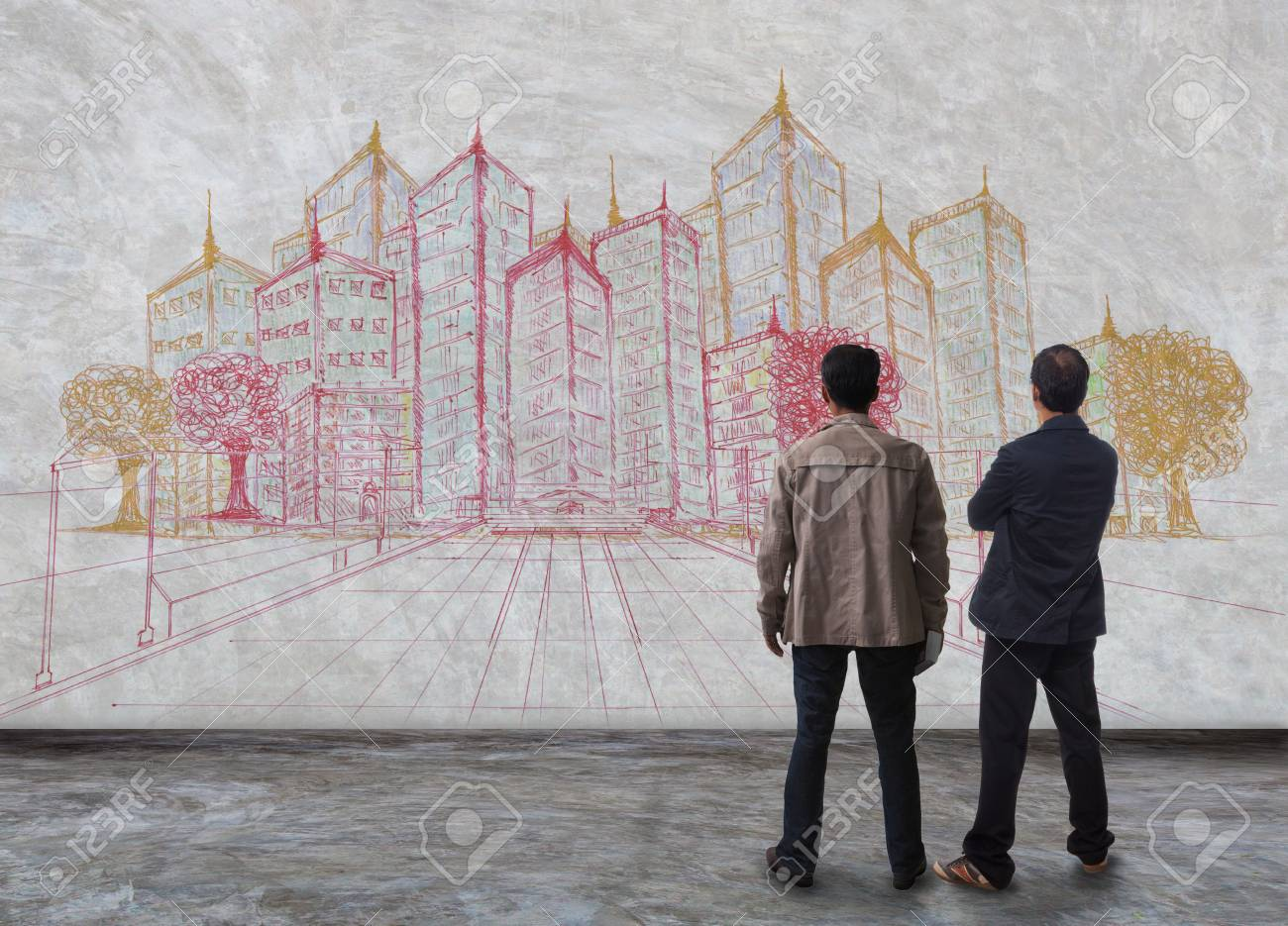 two of architect standing and watching to building project on the wall for construction and architecture theme Stock Photo - 19749591