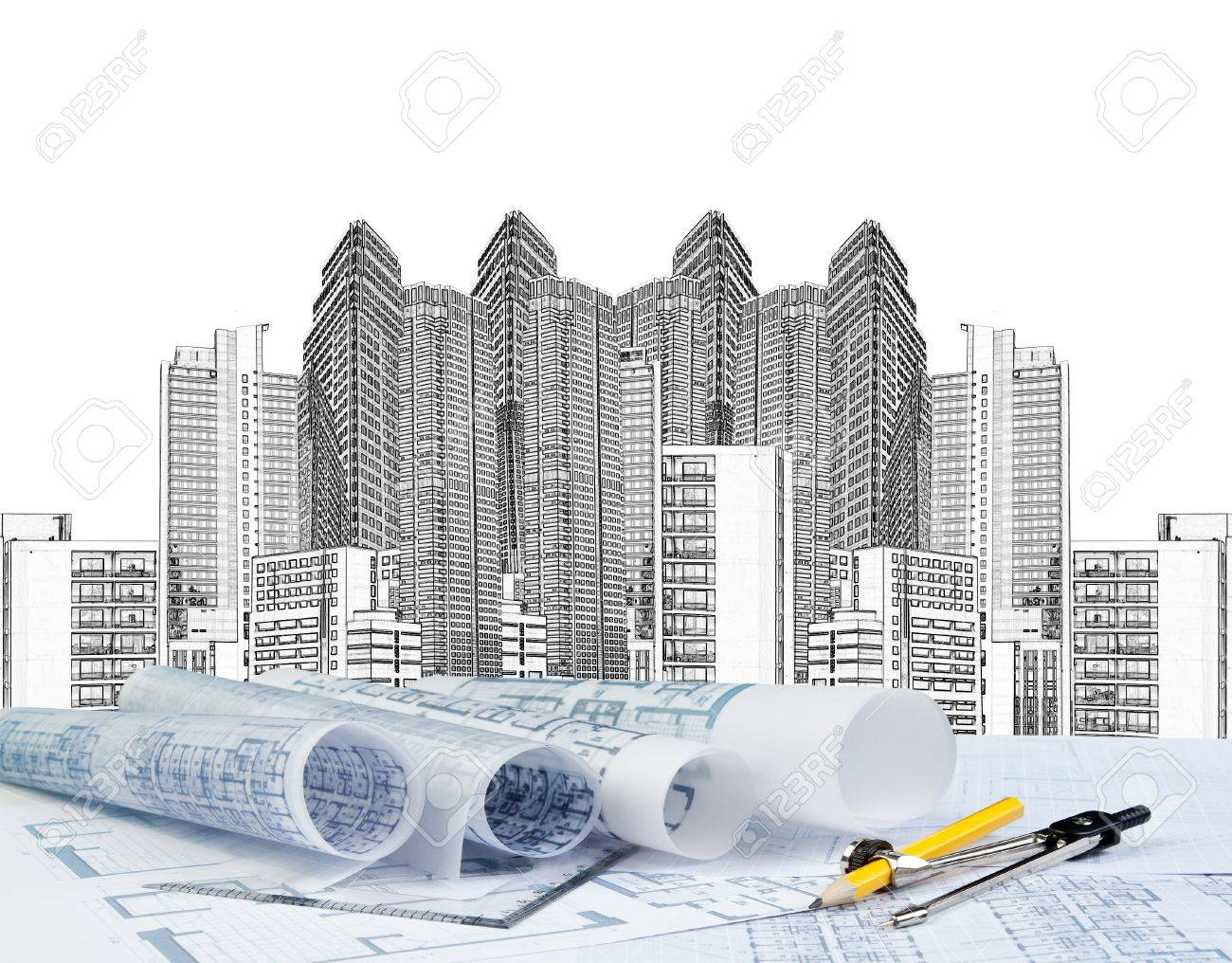 Sketching of modern building and plan blueprint stock photo sketching of modern building and plan blueprint stock photo 20674073 malvernweather Images