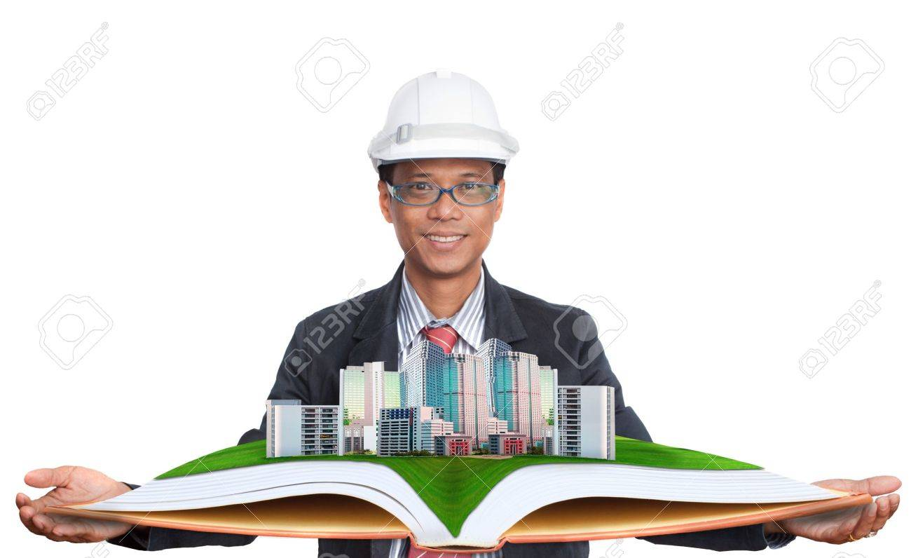 architect holding green field with modern building above Stock Photo - 20771665