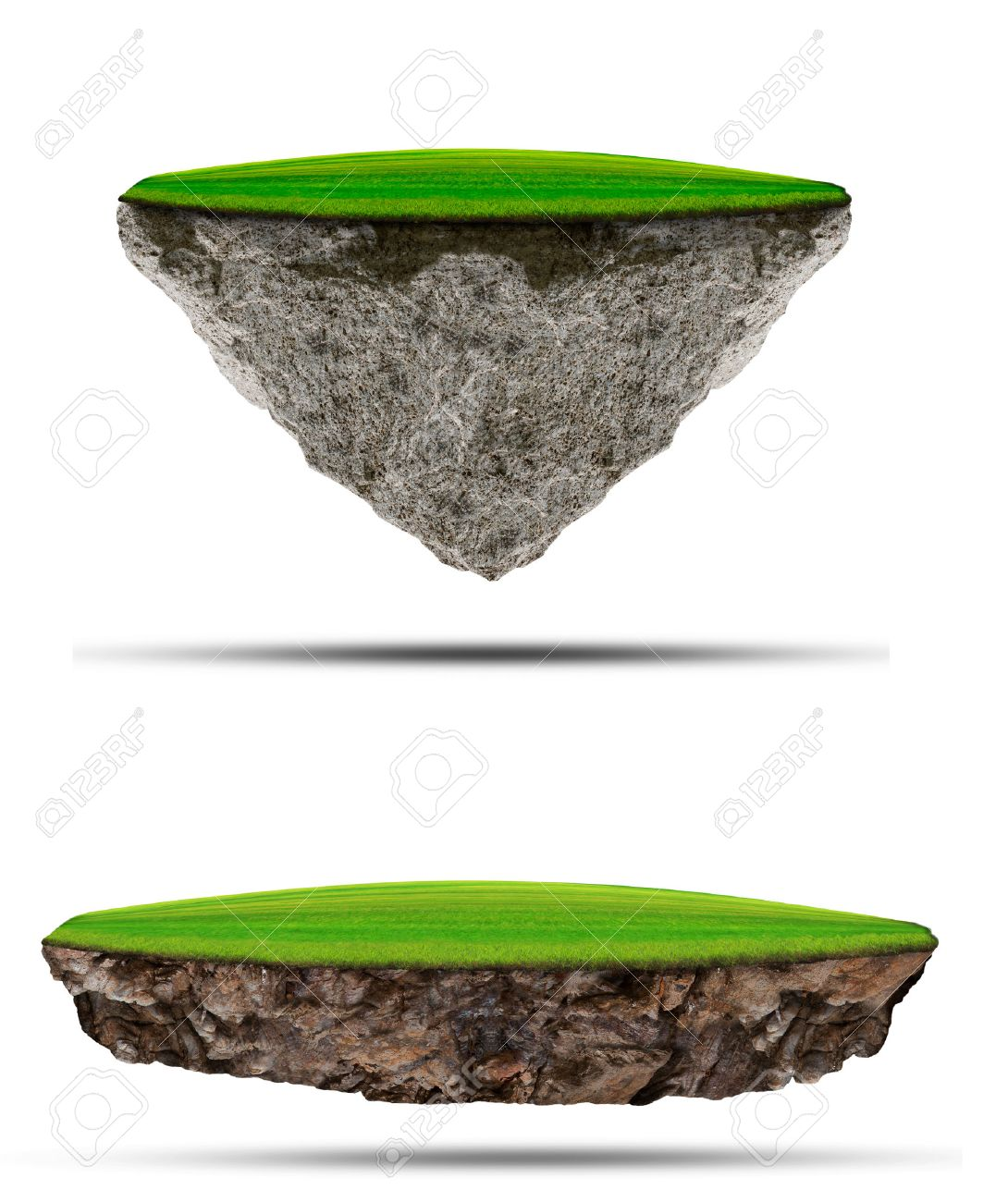 two kind of floating green grass  field over rock island on white use for multipurpose nature and creative Stock Photo - 25207776