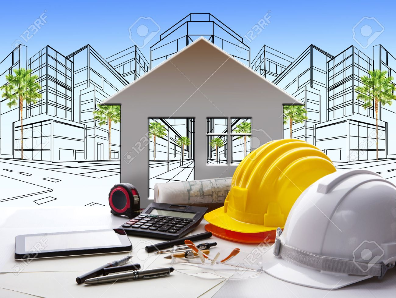 architectural equipments stock photos pictures royalty architectural equipments architect working table construction industry and engineer working tool on top of
