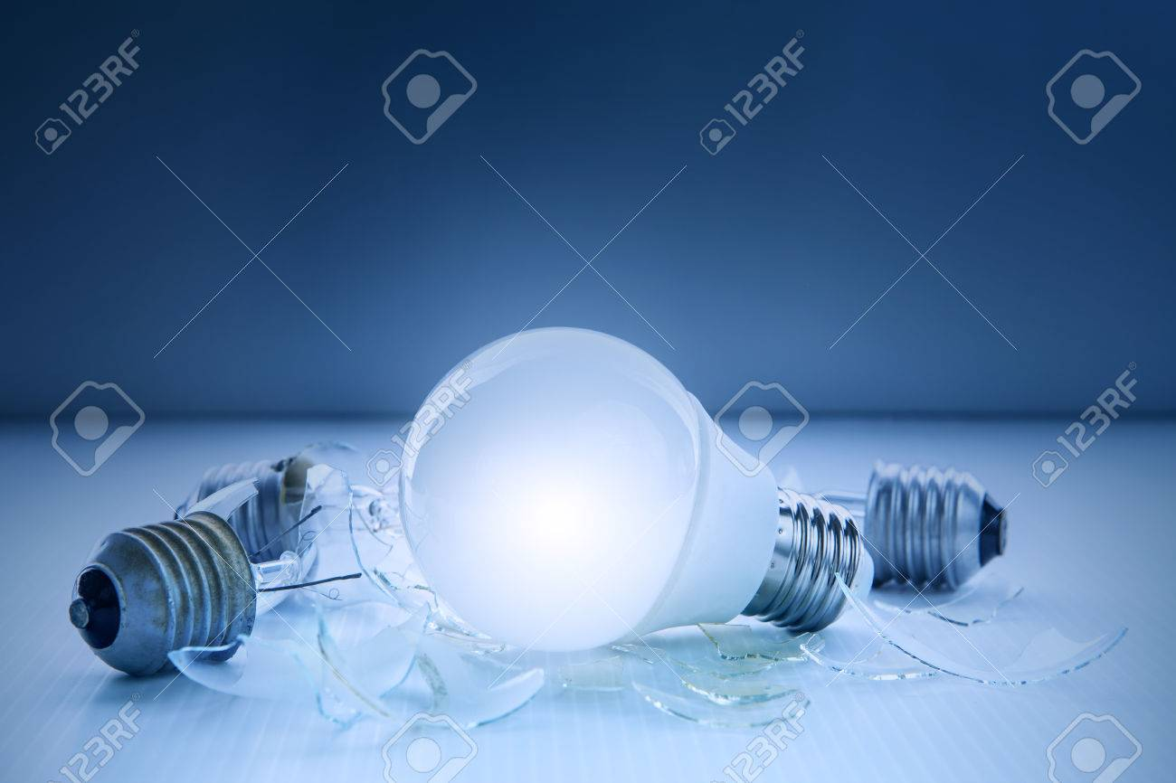creative led lighting. Abstract Of Led Light Bulb Glowing And Lyinjg With Another Broken Use For Idea Creative Lighting D