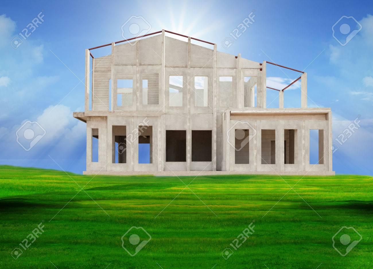Rahmen Knock Down Haus Isoliert Weißem Hintergrund Verwendung Für ...