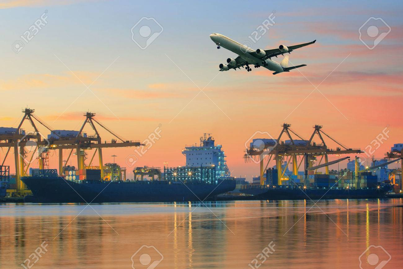 cargo plane flying above ship port use for transportation and freight logistic industry business Stock Photo - 40828239