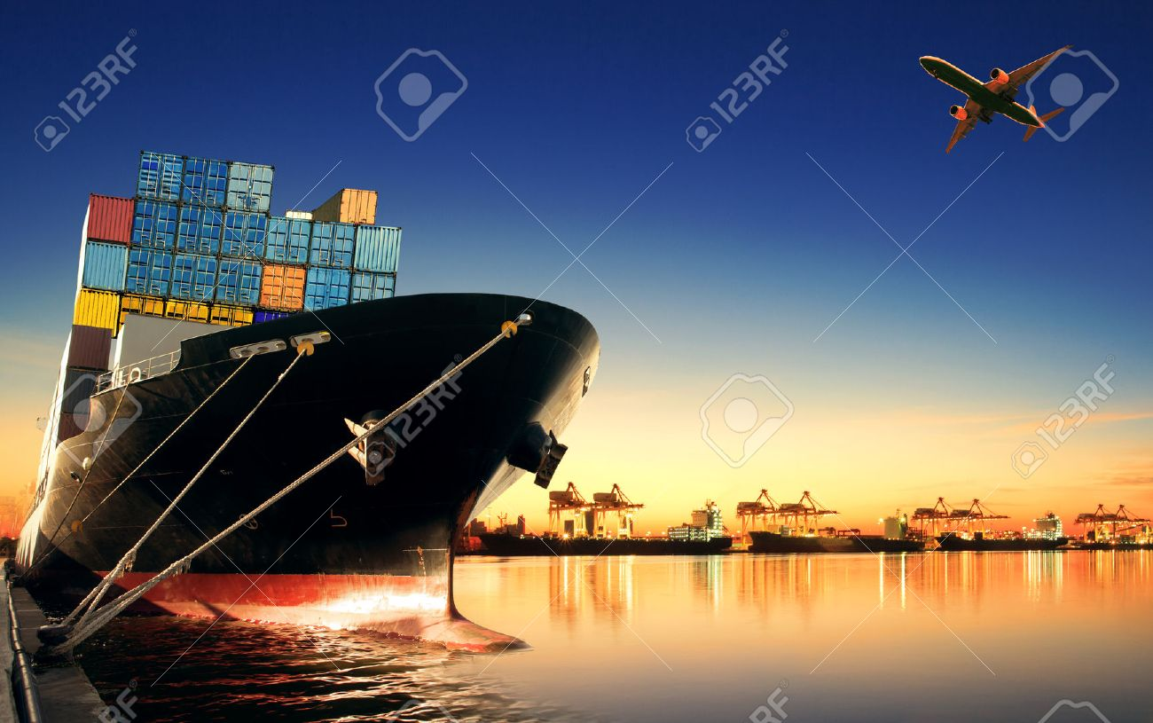container ship in import,export port against beautiful morning light of loading ship yard use for freight and cargo shipping vessel transport - 40921867