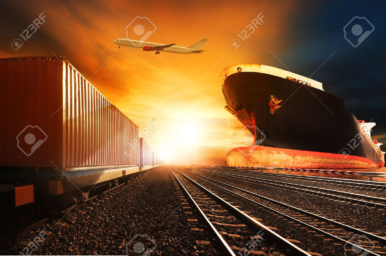 container trains ,commercial ship on port freight cargo plane flying above use for logistic and transportation industry background Stock Photo - 41177878