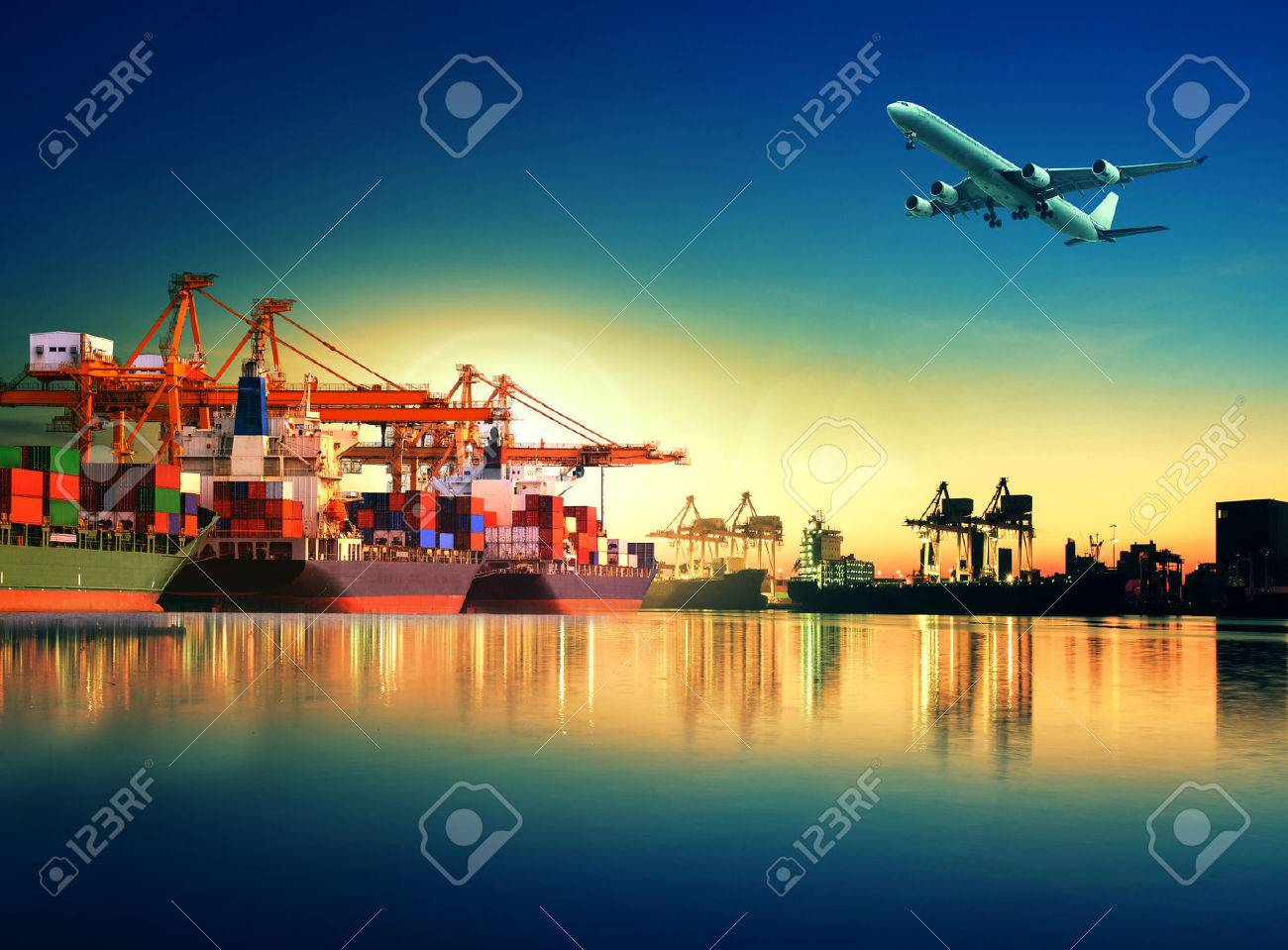 container ship in import,export port against beautiful morning light of loading ship yard use for freight and cargo shipping vessel transport Stock Photo - 44169758