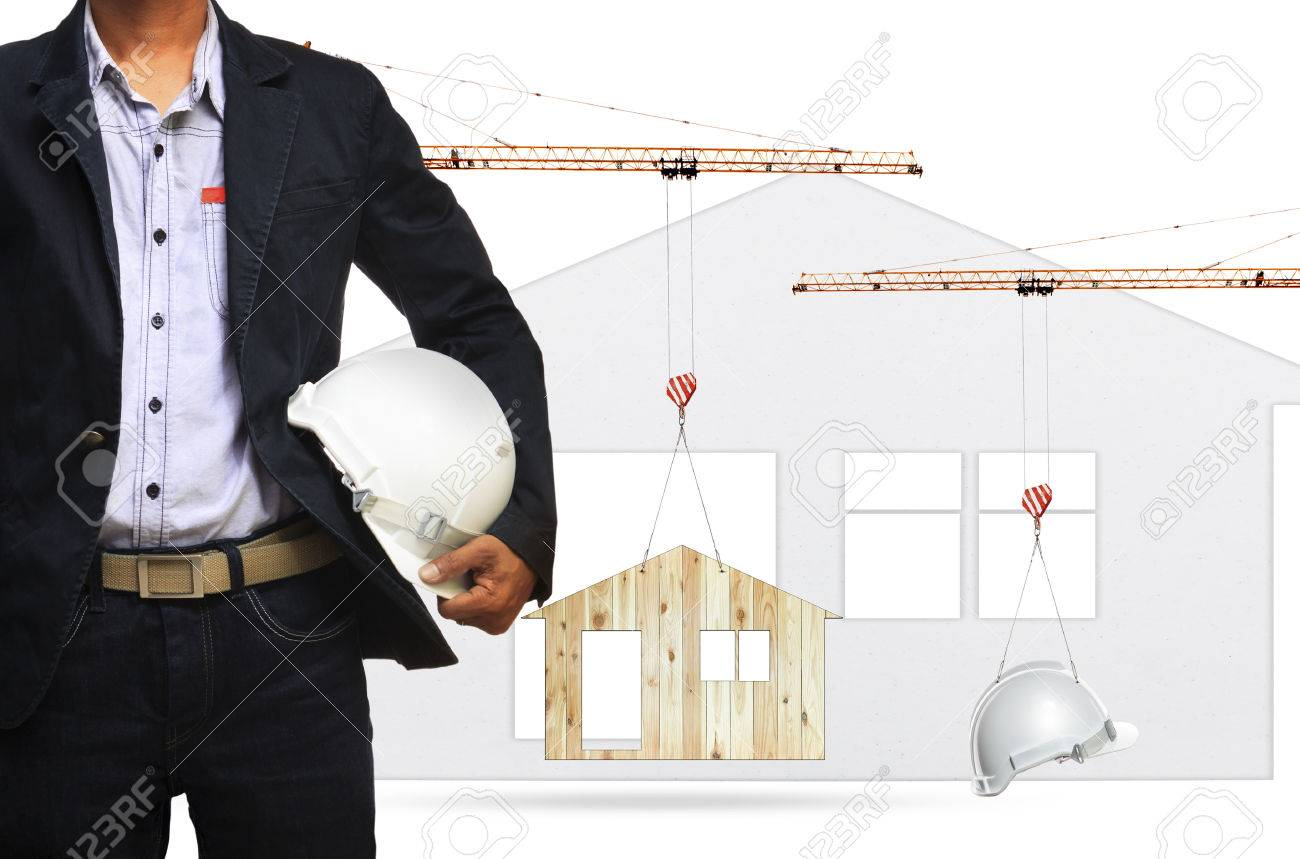 architect and construction crane lifting home and safety helmet