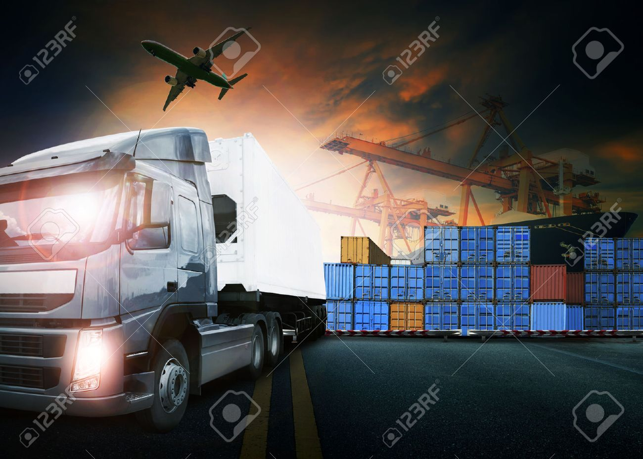 container truck ,ship in port and freight cargo plane in transport and import-export commercial logistic ,shipping business industry Stock Photo - 51731777