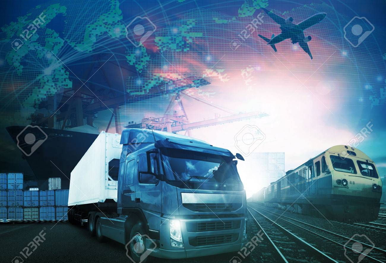world trading with industries truck,trains,ship and air cargo freight logistic background use for all import export transportation theme - 53622282