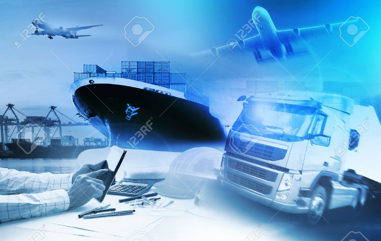 container truck ,ship in port and freight cargo plane in transport and import-export commercial logistic ,shipping business industry - 54797976