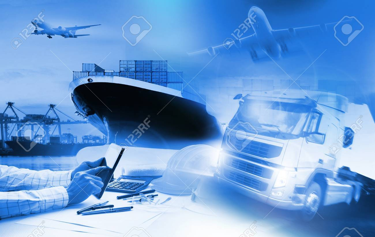 container truck ,ship in port and freight cargo plane in transport and import-export commercial logistic ,shipping business industry - 54798063
