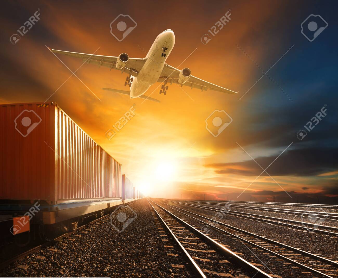 logistic trains and cargo plane flying against beautiful sky background - 151423923