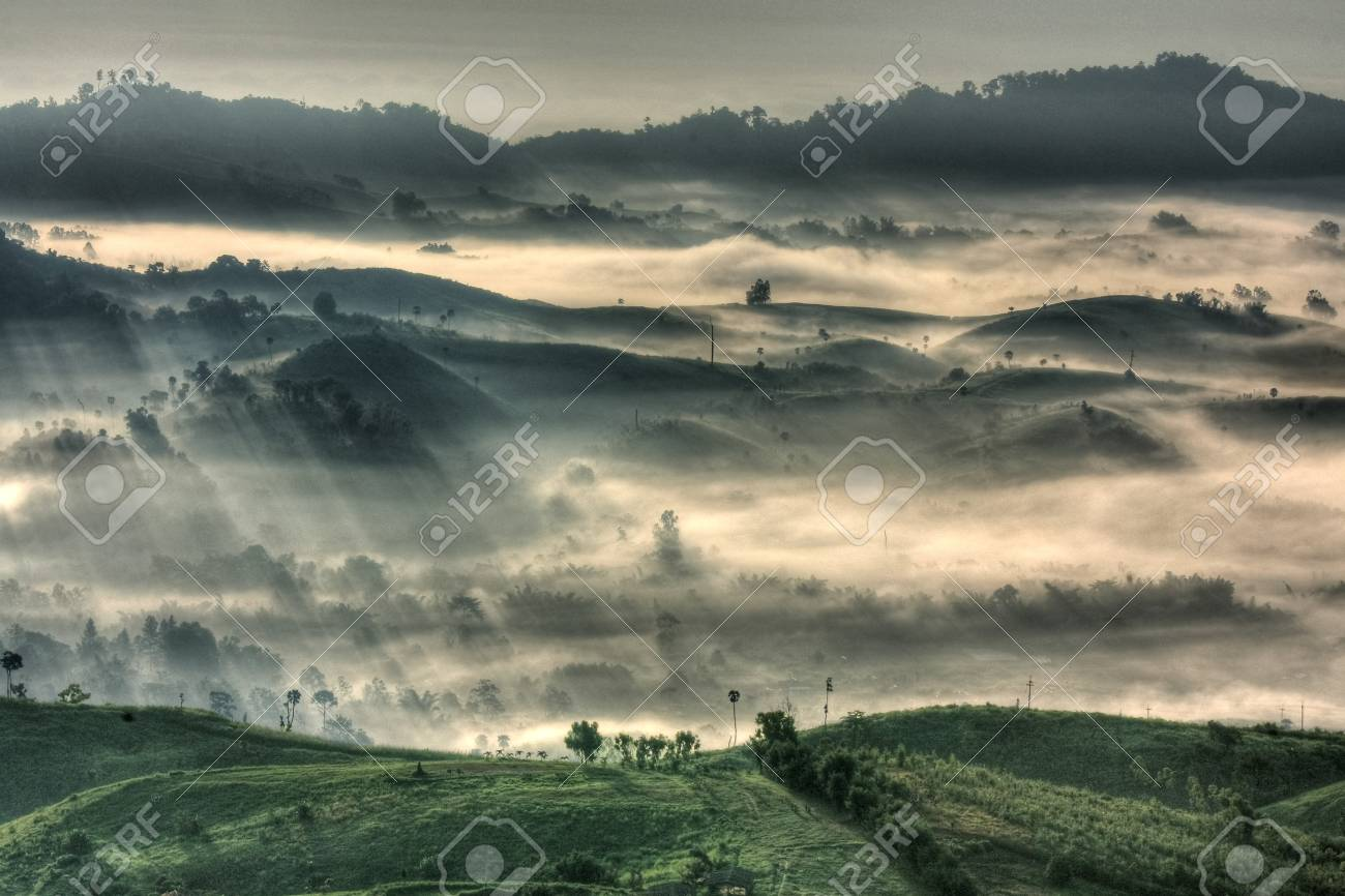 mountain and fog at  tropical zone Stock Photo - 8120437