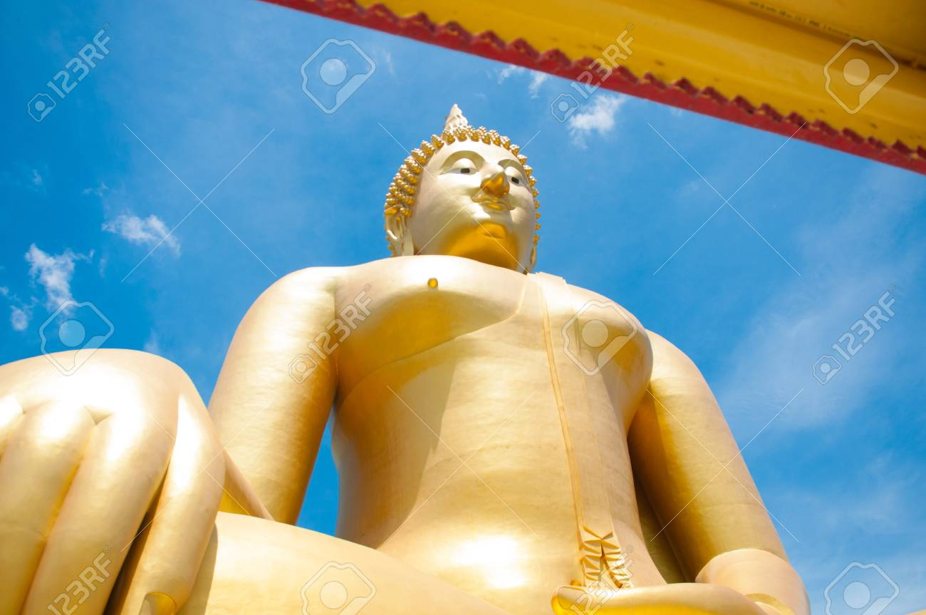 Big golden Buddha at Wat Muang of Ang Thong province Thailand Stock Photo - 28375963