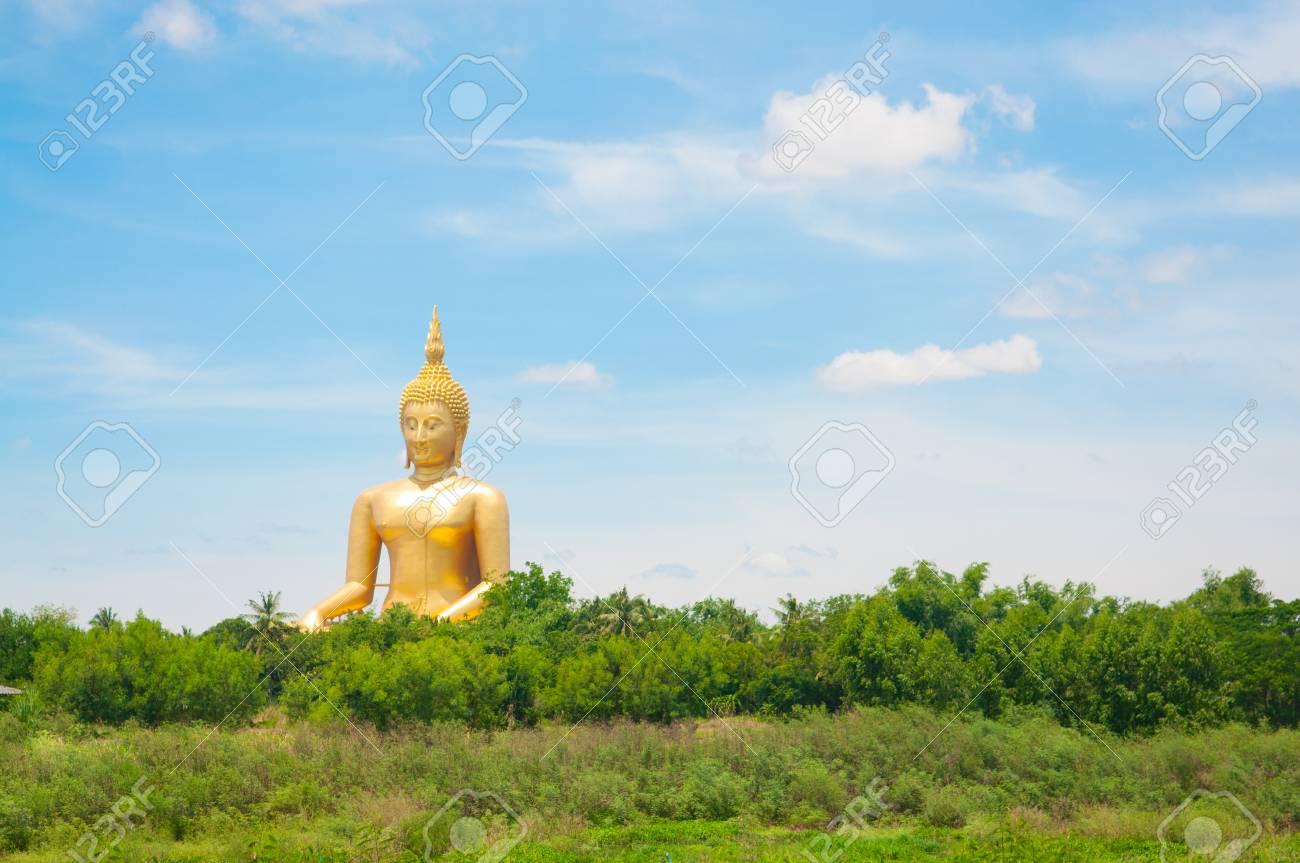 Big golden Buddha at Wat Muang of Ang Thong province Thailand Stock Photo - 28375745