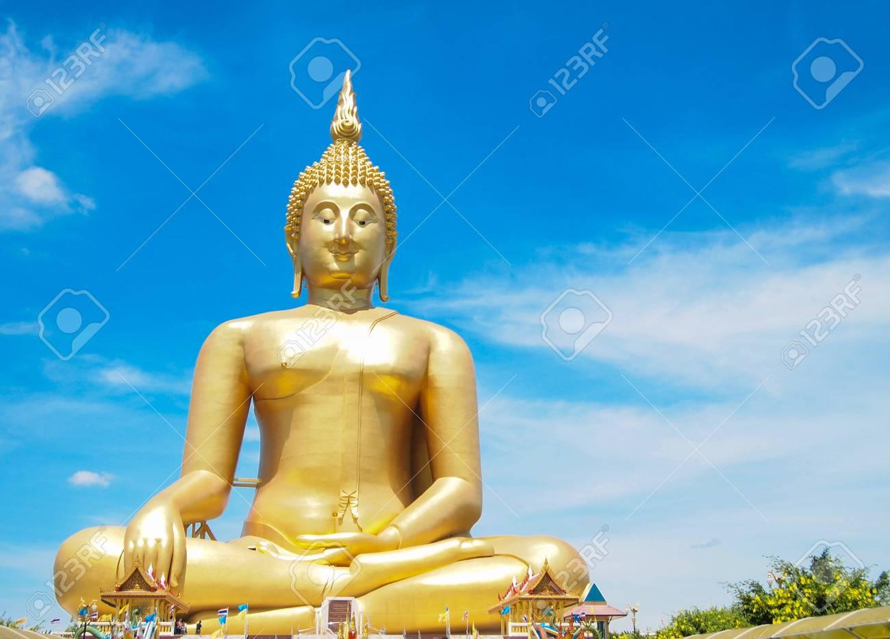 Big golden Buddha at Wat Muang of Ang Thong province Thailand Stock Photo - 28451084