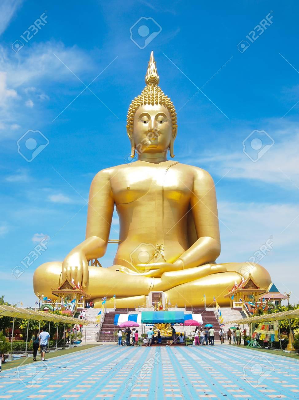 Big golden Buddha at Wat Muang of Ang Thong province Thailand Stock Photo - 28451085