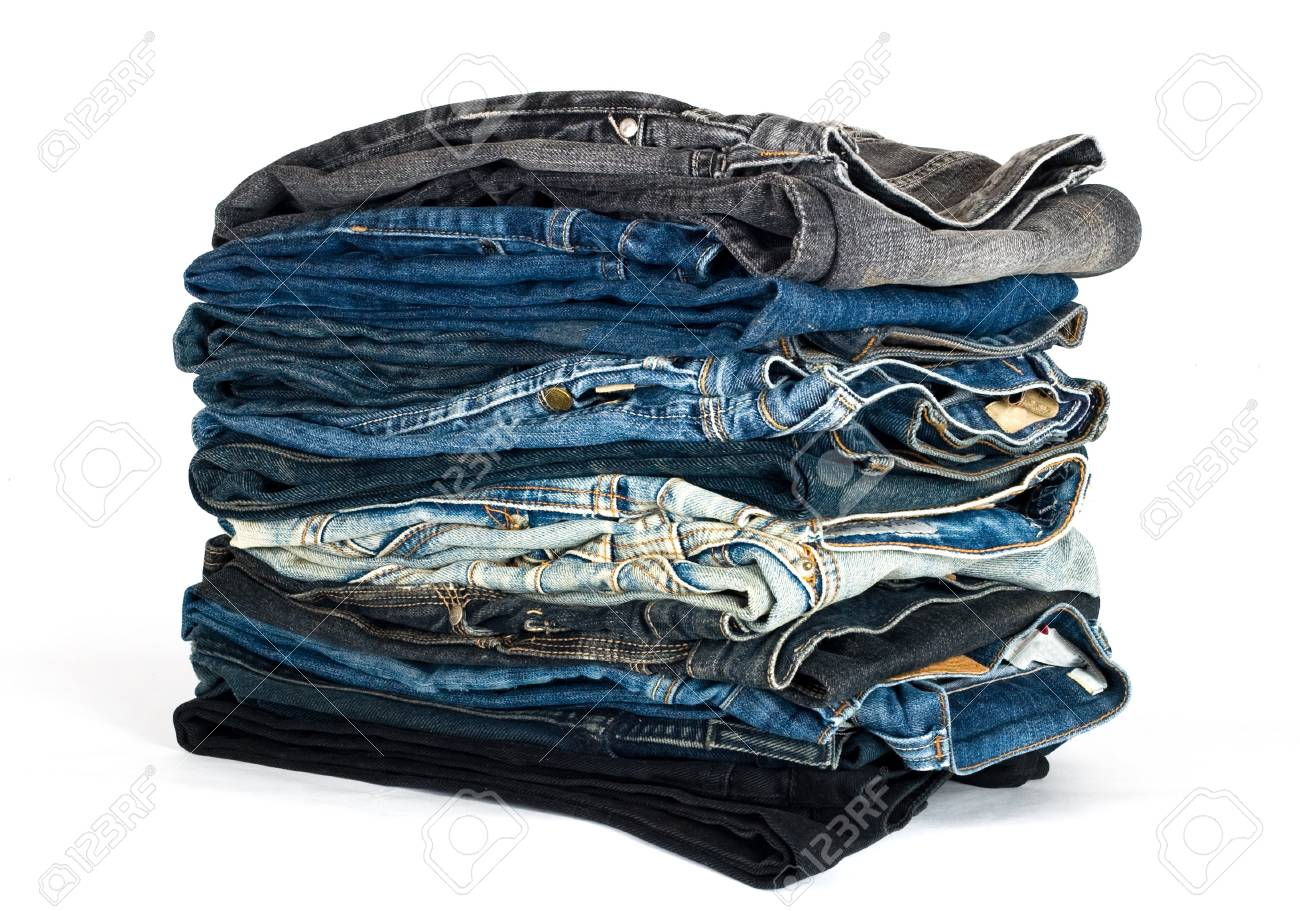 stack of various jeans isolated on white Stock Photo - 9090448