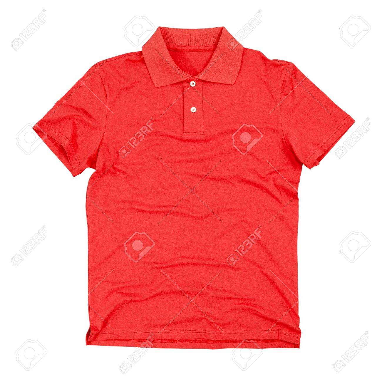 Black t shirt red collar - Red Collar Photograph Of Blank Polo T Shirt Isolated On White Background Stock