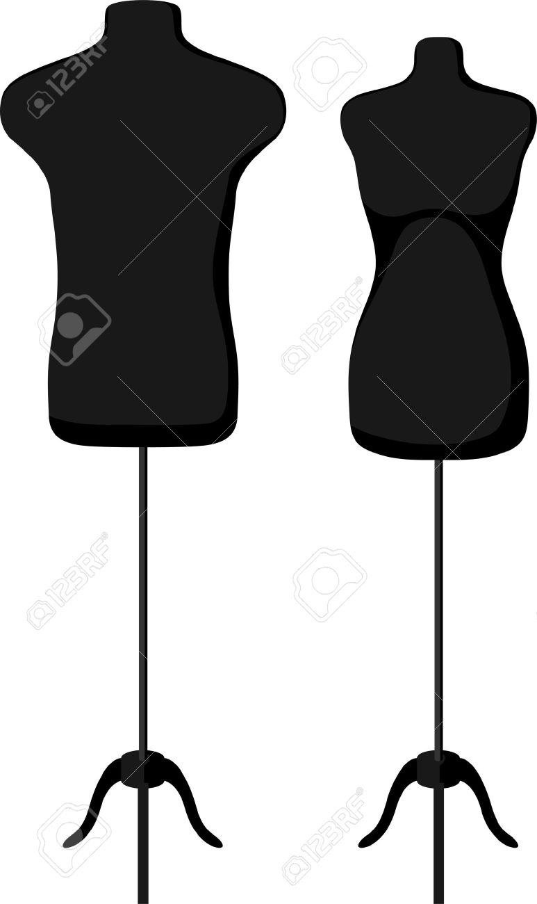 Male And Female Empty Mannequin Torso Template. Vector Illustration ...