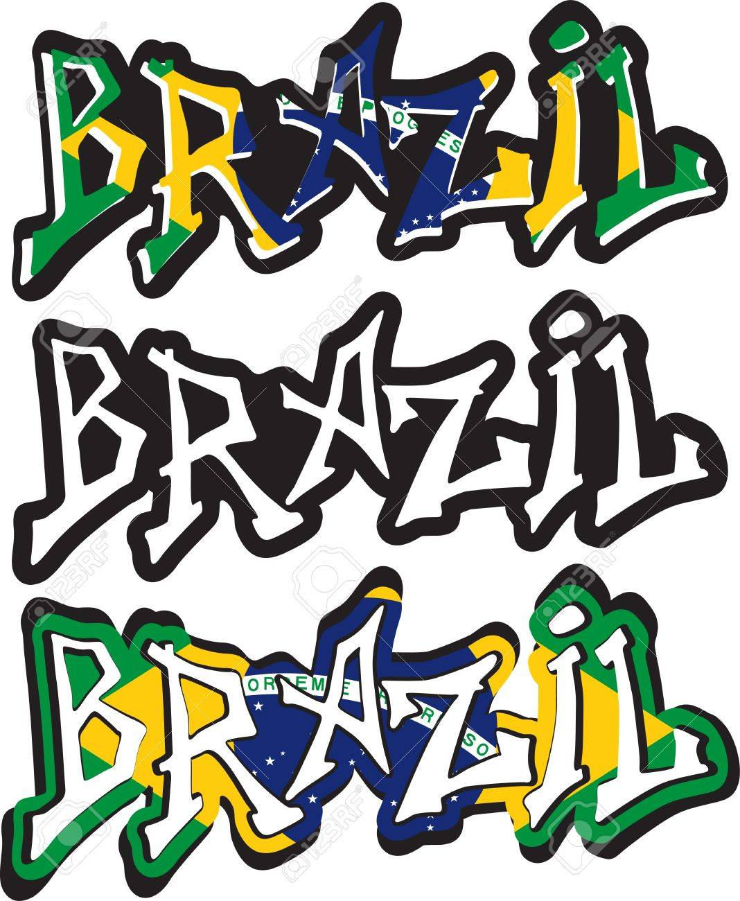 Brazil Word Graffiti Different Style Vector Image