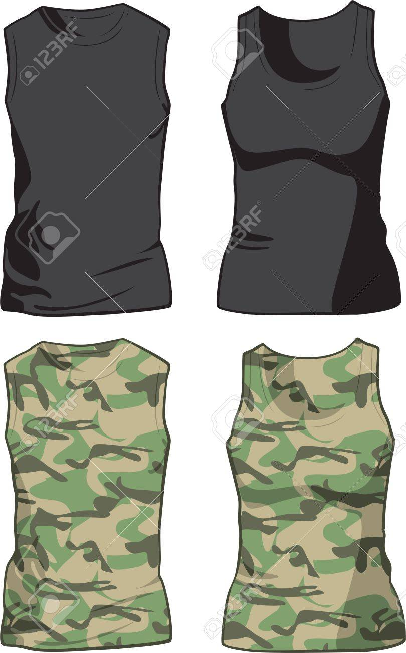Black and Military Shirts front view template illustration - 29261234