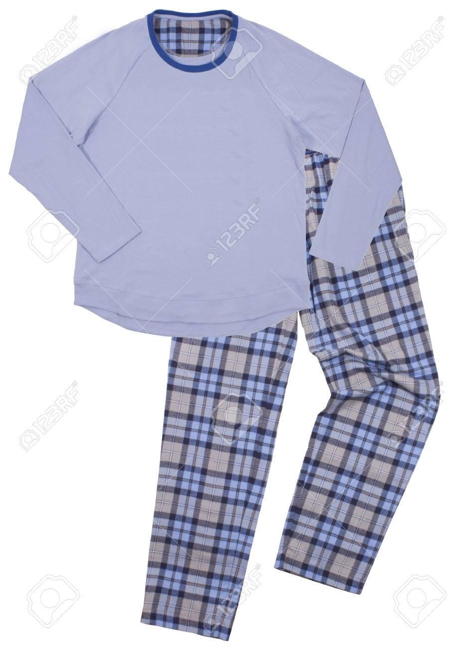 bfad5e0b8b Foto de archivo - Pijamas de los niños azules. Aislado en un fondo blanco