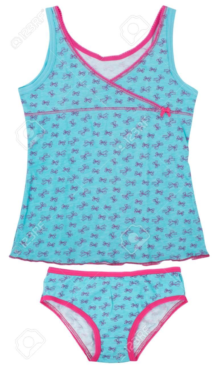 68644c45b007 Foto de archivo - Juego de los niños azules niñas pijama aislado en blanco
