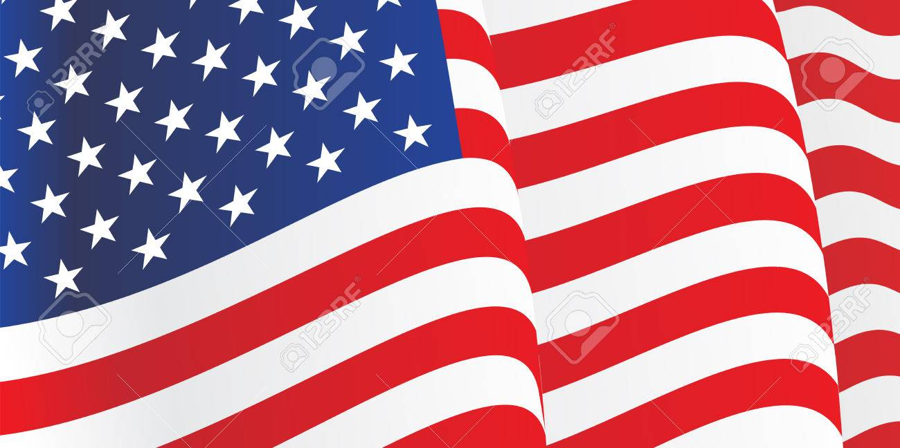 Background with waving American Flag. Vector - 34126475