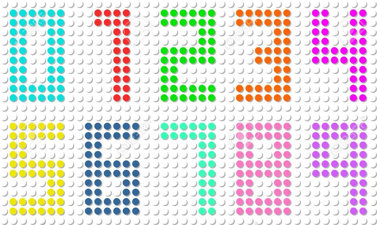 Set Of Pixel Digit Numbers Vector Illustration