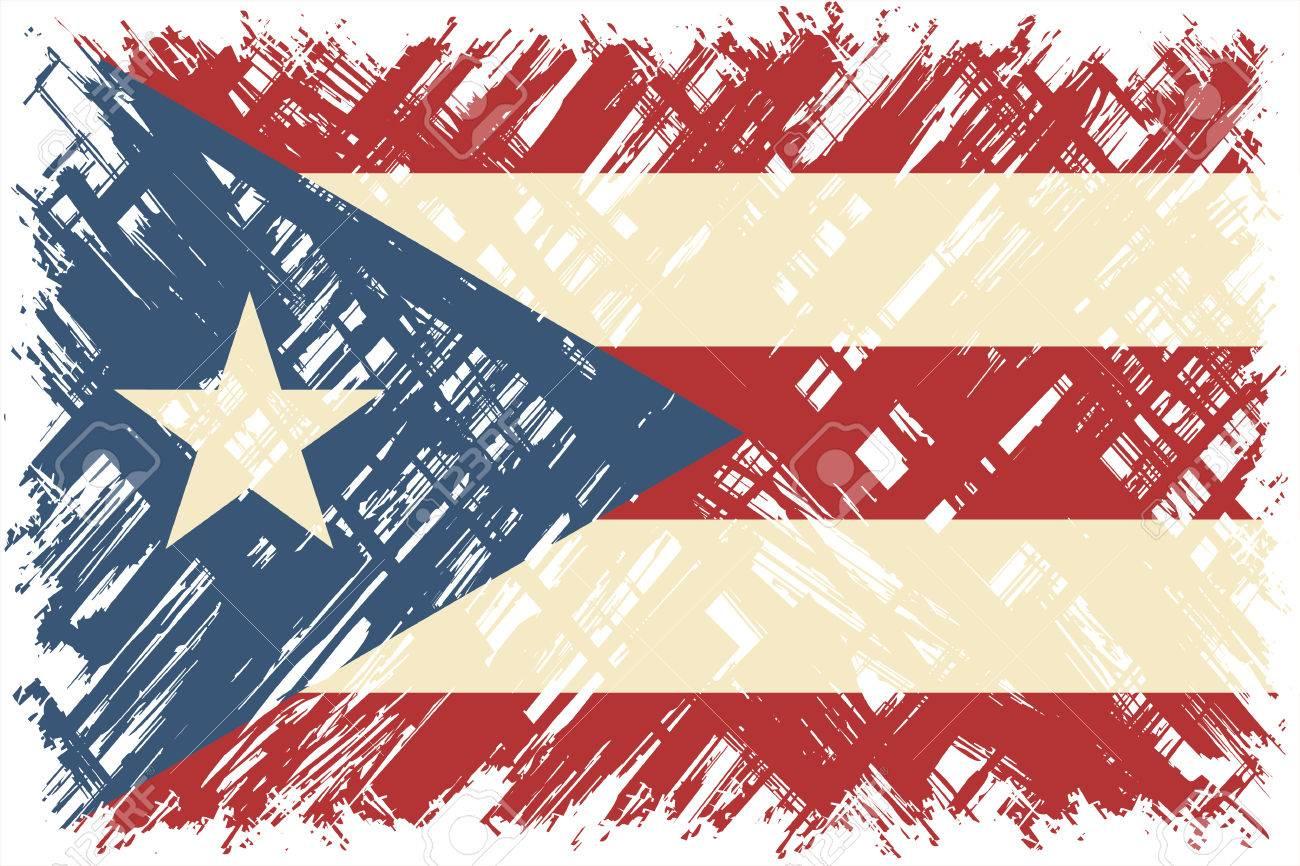 Puerto Rican Grunge Flag Vector Illustration Grunge Effect